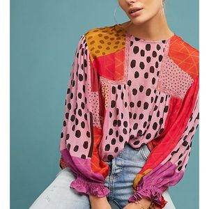 Anthropologie Eclectic Peasant Blouse by Blank